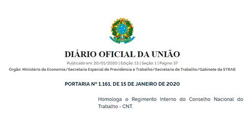 Portaria regulamentará o funcionamento do Conselho Nacional do Trabalho